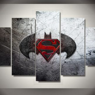 5 Panels Superman Batman Symbol Multi Piece Framed Canvas Art Poster Print