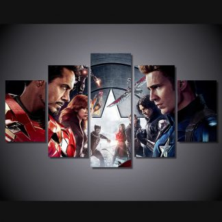 5 Panels Captain America Civil War Multi Piece Framed Canvas Art Poster Print