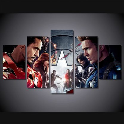 5 Panels Captain America Civil War Multi Piece Framed Canvas Art