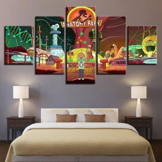 5 Panels Rick And Morty Multi Piece Framed Canvas Art