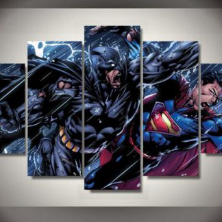 5 Panels Superman vs Batman Multi Piece Framed Canvas Art