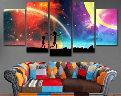 5 Panels Rick And Morty Multi Piece Framed Canvas Art Poster Print