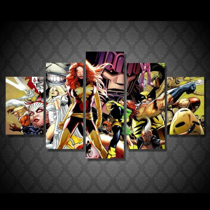 5 Panels X Men Multi Piece Framed Canvas Art Poster Print