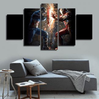 5 Panels Ironman vs Captain America Multi Piece Framed Canvas Art Poster Print