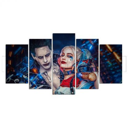 5 Panels The Joker Harley Quinn Multi Piece Framed Canvas Art Poster Print