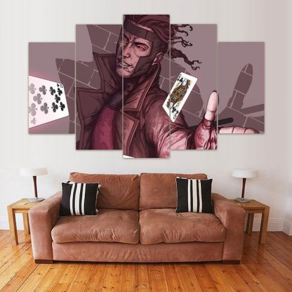 5 Panels Gambit Multi Piece Framed Canvas Art Poster Print
