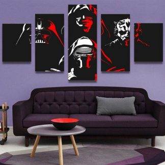 5 Panels Darth Vaider Multi Piece Framed Canvas Art