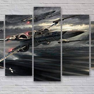 5 Panels X Wing Starfighter Multi Piece Framed Canvas Art