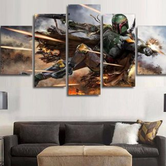 5 Panels Boba Fett Multi Piece Framed Canvas Art Poster Print