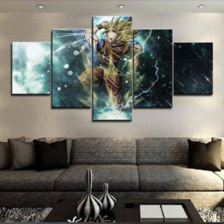 5 Panels Son Goku Multi Piece Framed Canvas Art Poster Print
