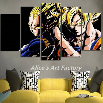 5 Panels Vegeta Son Goku Multi Piece Framed Canvas Art Poster Print