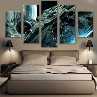 5 Panels Millennium Falcon Multi Piece Framed Canvas Art Poster Print