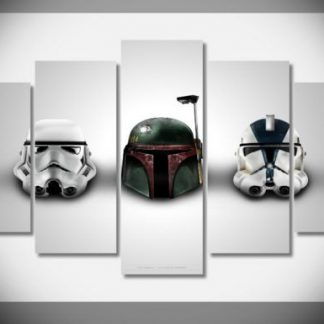 5 Panels Star Wars Helmets Multi Piece Framed Canvas Art Poster Print