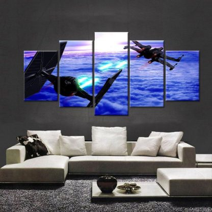 5 Panels TIE Fighter Multi Piece Framed Canvas Art Poster Print