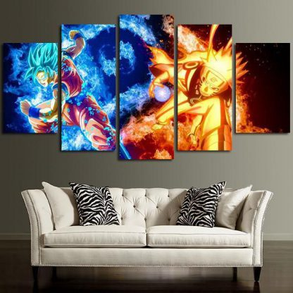 5 Panels Dragon Ball Super Naruto Multi Piece Framed Canvas Art Poster Print