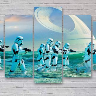 5 Panels Stormtrooper Multi Piece Framed Canvas Art Poster Print