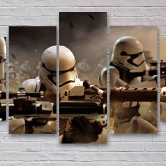 5 Panels Stormtrooper Multi Piece Framed Canvas Art