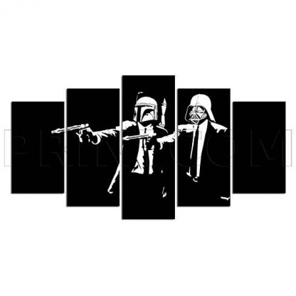 5 Panels Star Wars Pulp Fiction Multi Piece Framed Canvas Art Poster Print