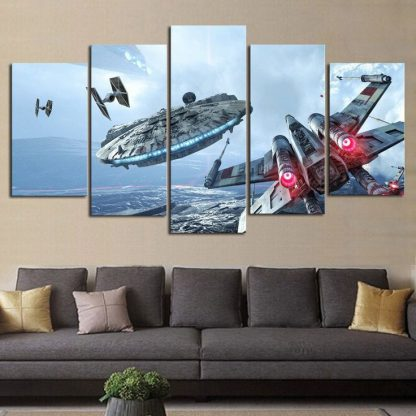 5 Panels Star Wars Multi Piece Framed Canvas Art Poster Print