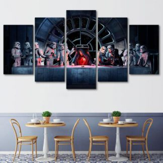 5 Panels Star Wars Last Meal Multi Piece Framed Canvas Art Poster Print