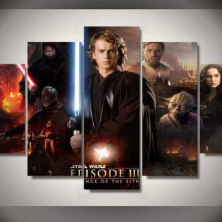 5 Panels Star Wars Episode III Multi Piece Framed Canvas Art