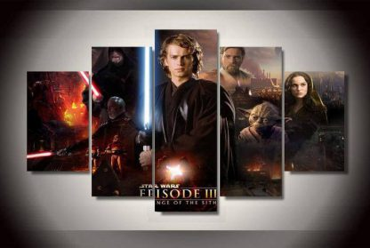5 Panels Star Wars Episode III Multi Piece Framed Canvas Art Poster Print