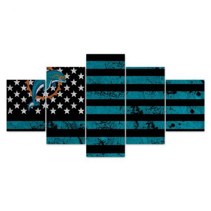 5 Panels NFL Miami Dolphins Multi Piece Framed Canvas Art Poster Print