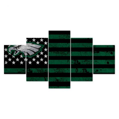 5 Panels NFL Philadelphia Eagles Multi Piece Framed Canvas Art Poster Print