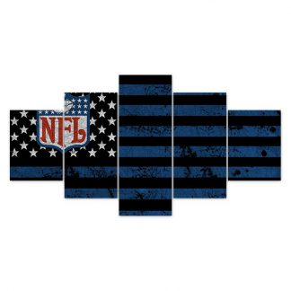 5 Panels National Football League Multi Piece Framed Canvas Art Poster Print