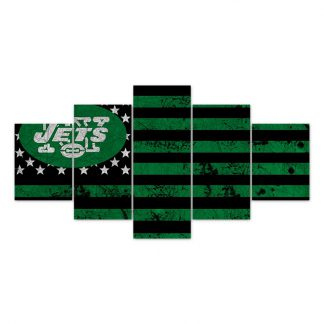 5 Panels NFL New York Jets Multi Piece Framed Canvas Art Poster Print
