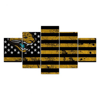 5 Panels NFL Jacksonville Jaguars Multi Piece Framed Canvas Art Poster Print