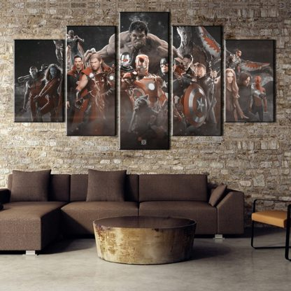 5 Panels Avengers Multi Piece Framed Canvas Art Poster Print