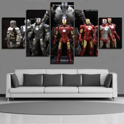 5 Panels Iron Man Multi Piece Framed Canvas Art Poster Print