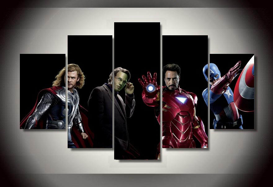 Iron Man Marvel Avengers Supervillian 5 Piece Multi Panel Canvas Wall Art Print