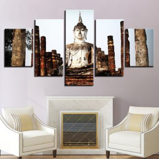 5 Panels Smiling Buddha Statue Temple Nature Multi Piece Framed Canvas Art Poster Print