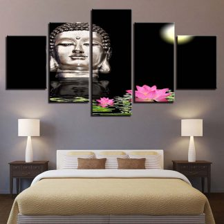 5 Panels Floating Buddha At Night Multi Piece Framed Canvas Art Poster Print