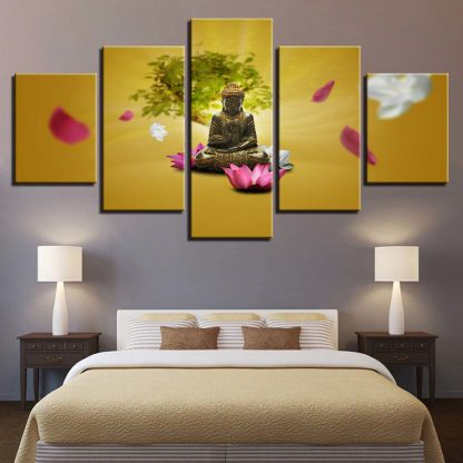 5 Panels Buddha Flowers Multi Piece Framed Canvas Art Poster Print