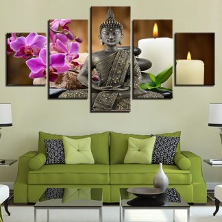 5 Panels Meditating Buddha Multi Piece Framed Canvas Art Poster Print