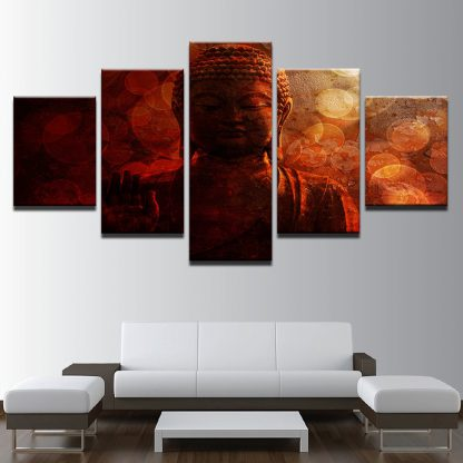 5 Panels Red Buddha Multi Piece Framed Canvas Art Poster Print