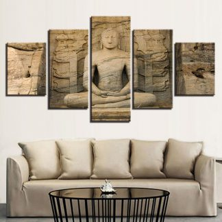 5 Panels Buddha Stone Statue Multi Piece Framed Canvas Art Poster Print