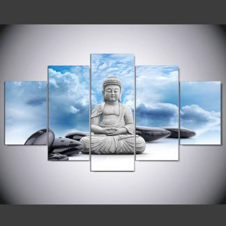 5 Panels Buddha Meditating Sky Multi Piece Framed Canvas Art Poster Print