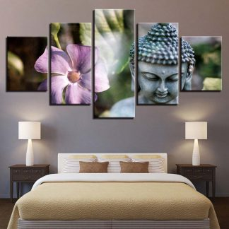 5 Panels Smiling Buddha Multi Piece Framed Canvas Art Poster Print