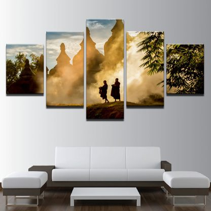 5 Panels Buddhist Monks Monastery Nature Multi Piece Framed Canvas Art Poster Print
