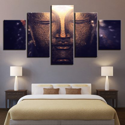 5 Panels Meditating Divine Buddha Multi Piece Framed Canvas Art Poster Print