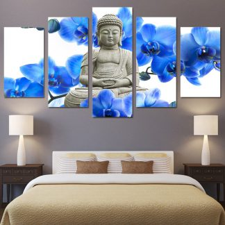 5 Panels Buddha Stone Statue Blue Flowers Multi Piece Framed Canvas Art Poster Print