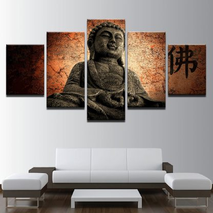 5 Panels Buddha Oriental Multi Piece Framed Canvas Art Poster Print