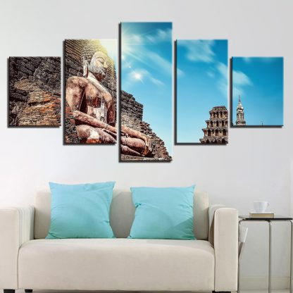 5 Panels Buddha Monastery Sun Multi Piece Framed Canvas Art Poster Print