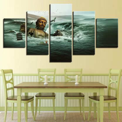 5 Panels Tsunami Buddha Multi Piece Framed Canvas Art Poster Print