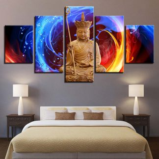 5 Panels Divine Colorful Buddha Multi Piece Framed Canvas Art Poster Print