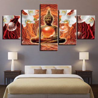 5 Panels Psychedelic Buddha Flowers Multi Piece Framed Canvas Art Poster Print